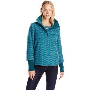 PrAna Teal Lily Jacket Wool Blend Chevron Print